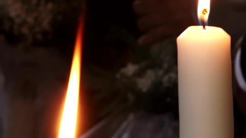 White candles held in hands by participants to religious ceremony 13 Footage