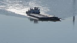 River barge ship sailing on Danube river. Serbia, Novi Sad Footage