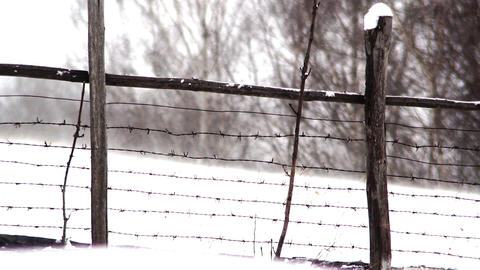Wind leading snow filed behind barbed wire fence what separates the yard of fore Footage