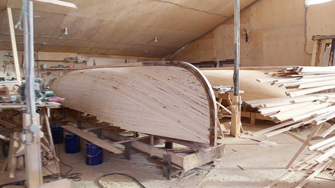 Construction of boats at the shipyard Live Action