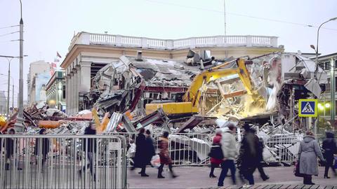 Building Demolition stock footage