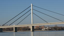 Bridge over the Danube river Footage