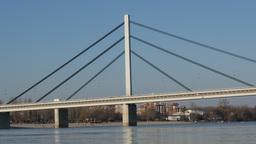 Bridge over the Danube river Footage