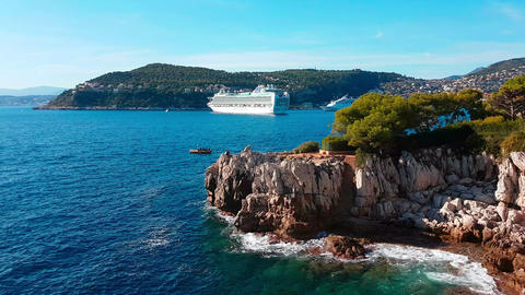 Cruise Ship in a Beautiful Mediterranean Coast Landscape Footage