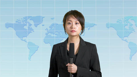 Asian Chinese news presenter with map background Image