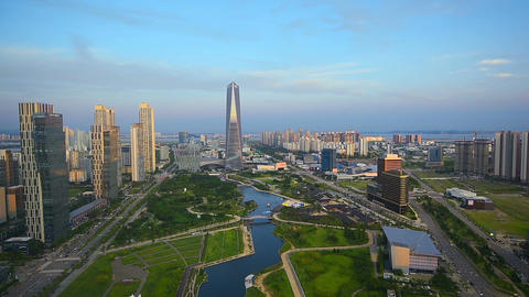 Aerial of Incheon,Central Park in Songdo International Business District , South Footage