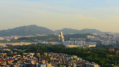 Seoul City skyline , South Korea Live Action