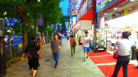 Tracking shot of Akihabara shopping area Tokyo Japan ビデオ