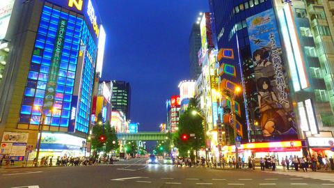 Side tracking shot of Akihabara shopping area Tokyo Japan ビデオ