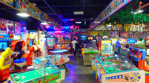 Amusement arcade in Decks Odaiba shopping center in Odaiba Tokyo Japan Footage