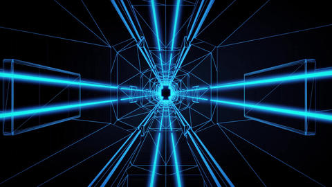 3D Blue Tron Style Tunnel Loopable Motion Background Animation