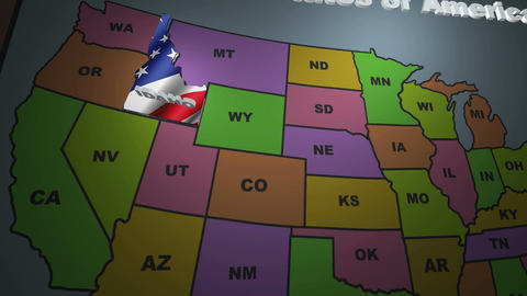 Idaho pull out from USA states abbreviations map Footage
