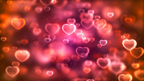 HD Loopable Background with nice pink flying hearts Animation