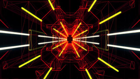 3D Red Yellow Neon Tunnel Loopable Motion Graphic Background Animation