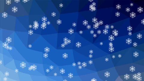 Snowfall animation, snowflakes falling on polygonal crystalic dark blue Animation