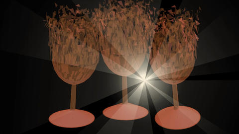 Happy birthday video, 3d glases exploding into particles and reassembled from Animation