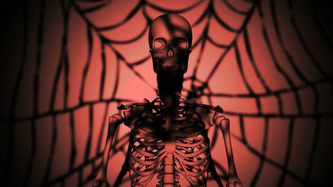 the skeleton at night performs strange actions, Stock Animation