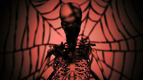 the skeleton at night performs strange actions Stock Video Footage