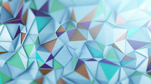 Mutlicolor low poly 3D surface waving loopable Animation