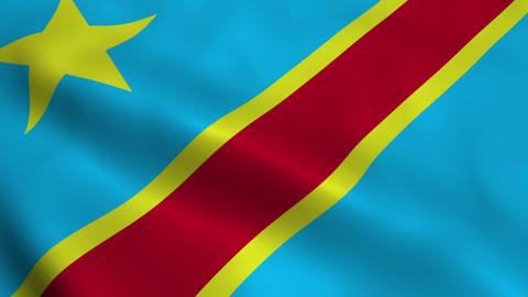 Realistic Democratic Republic of the Congo flag Animation