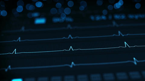 Medical monitor shows ECG seamless loop animation with DOF CG動画素材
