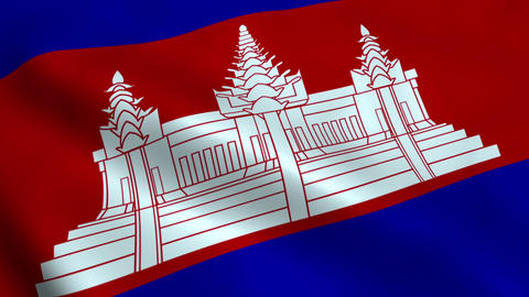 Realistic Cambodia flag Animation