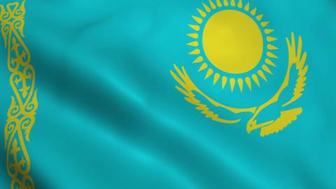 Realistic Kazakhstan flag Animation