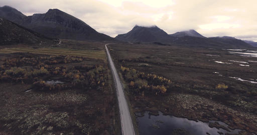 Epic landscape view with big mountains and country road in Norway Lofoten Footage