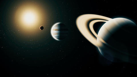 Realistic planet Saturn from deep space Animation