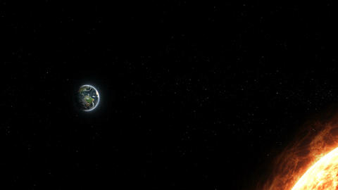 Realistic planet Earth and Sun from deep space Animation