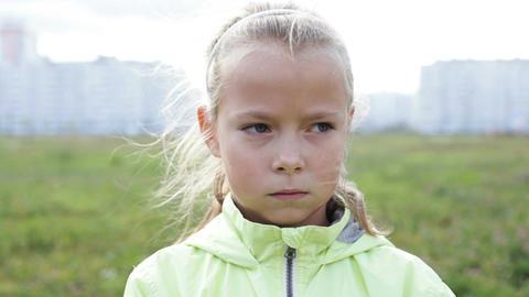 Close up sad little girl Footage