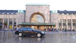 Taxi drive against west entrance to Helsinki Central Railway Station, morning Footage