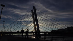 Silhouetted view of modern cable-stayed bridge, inclined pylons against dark sky Footage