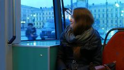 Pretty woman travel in Helsinki tram, ride at Senate… Stock Video Footage