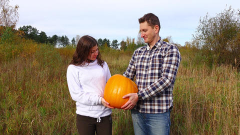 Handsome couple pose with ripe orange pumpkin, looking to camera Live Action