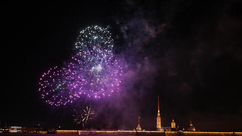 Bright and colourful balls, New Year firework display at Peter and Paul fortress GIF