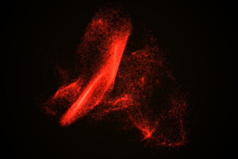 Abstract background made of red glowing particles Foto