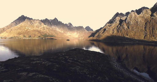 Epic nature landscape in Norway Lofoten Footage