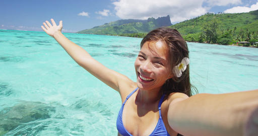 Vacation freedom woman with open arms welcoming on phone video selfie Footage