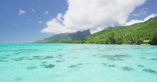 Travel vacation ocean Tahiti holidays, luxury view from overwater resort Footage