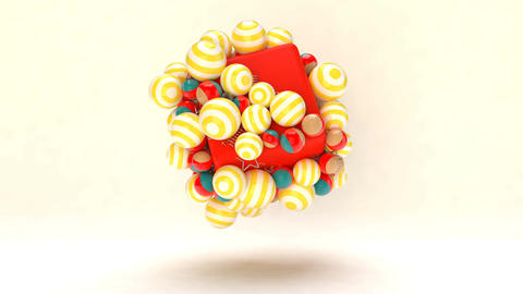 Spinning multicolored 3d balls Animation