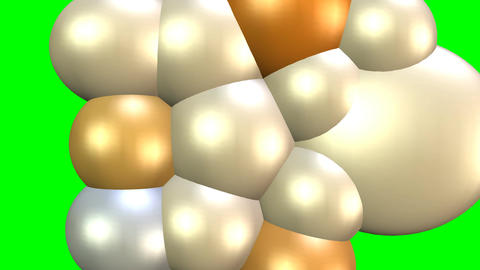 Mass increase animation on green screen, increasing molecules represented of 3d Animación