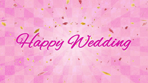 Happy Wedding title radiant petals background celebration CG Animation