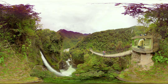 360Vr Landscape Of Pailon Del Diablo Waterfall By The Bridge At Daytime Footage