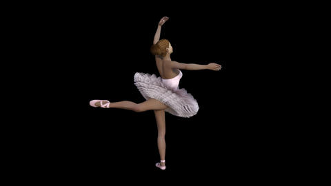 ballerina doll, loop, animation, Alpha channel, transparent background ,3d Animation