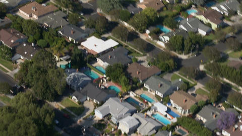 Sweeping suburban homes aerial Footage