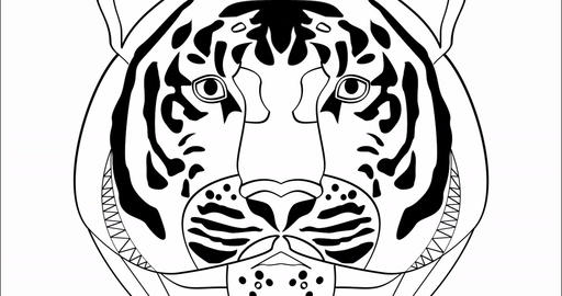 This is power, animation with tiger head in monochrome drawing, advertising Animation