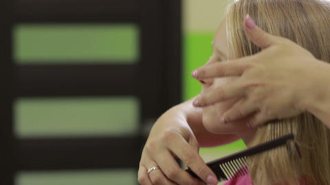 Hairdresser combing client's hair with comb Footage