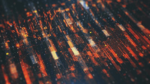 Technological Orange Looped Background HD Animation