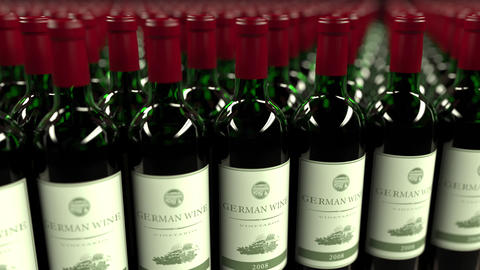 Many bottles of German wine, seamless loop animation Footage